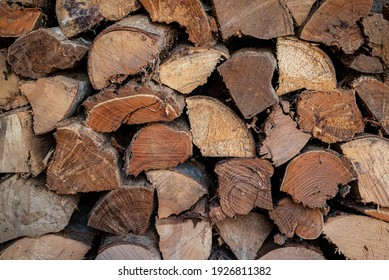 Split and stacked logs of firewood, heating fuel for wood stove, Appalachia, North Carolina