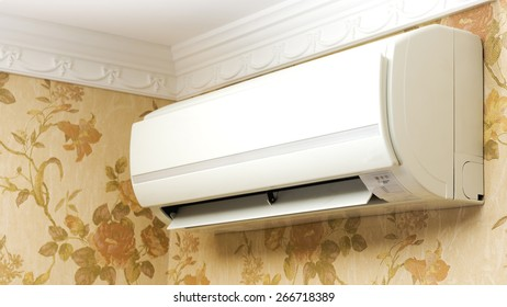 Split system air conditioner operating in home interior
