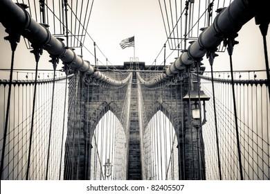 A split tone conversion of New York's famous landmark, the Brooklyn Bridge