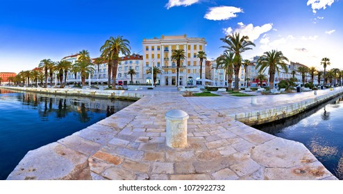 Split waterfront panoramic view from pier, Dalmatia, Croatia