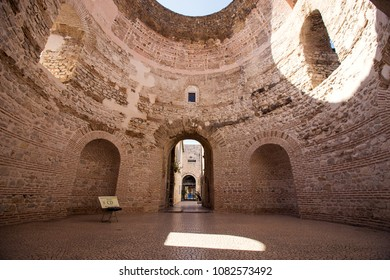 Split,Croatia - 24 april 2018 - Old roman historic architecture in city center of town Split, Diocletian Palace