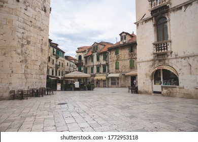 Split/Croatia-June 22nd, 2020: Old, historical center of Split city, full of dalmatian architecture, and many buildings left from the ancient Roman times