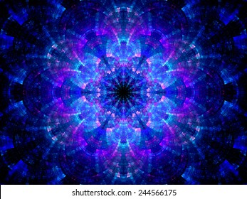 Splitted multicolored kaleidoscope fractal, computer generated abstract background