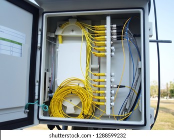 Splitter fiber optic box or fiber optic cable box: installed on outdoor poles. Inside, there is a yellow fiber optic cable separately connected by a number of power transmitters with a close-up view.