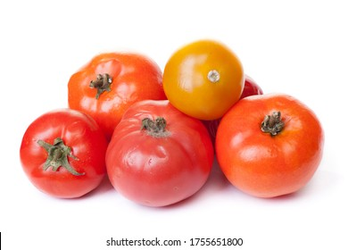 Spoiled tomato on white background, fungus with mold on vegetable isolated
