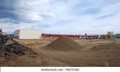 SPOKANE, WA - APRIL 14, 2012: A closed Kmart store gets demolished to make way for new development. Kmart parent Sears Holdings has rapidly declined in recent years due to low sales and competition