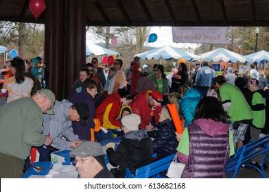 Spokane, WA - April 2, 2017: Lions club members supporting the Spokane MS Walk, a fund raising walk for Multiple sclerosis, editorial