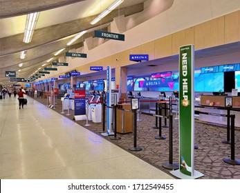 SPOKANE, WA - SEPTEMBER 6, 2019: An empty ticketing hall in Terminal A/B at Spokane International Airport.  The airport recently installed dynamic screens to enhance the passenger experience.