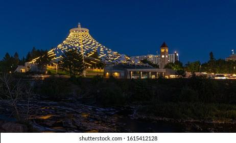 Spokane Washington City Skyline at Dusk