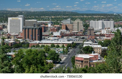 SPOKANE, WASHINGTON - JULY 23: Downtown Spokane from Edwidge Woldson Park on July 23, 2017 in Spokane, Washington