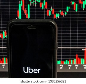 Spokane, WA/USA - April 2019: Uber app is open on a smartphone with a stock chart is visible in the background. Uber is a ride sharing company who recently filed an IPO to take their stock public.