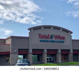 Spokane, WA/USA - July 2019: Exterior signage at at Total Wine Store. Total Wine is an American alcohol retailer selling wine, beer & spirits.