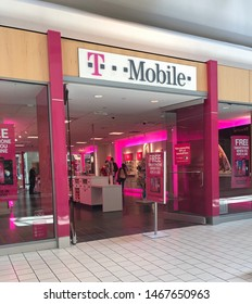Spokane, WA/USA - July 2019: Exterior is a T-Mobile retail store location at a local mall. T Mobile is a mobile communications company.