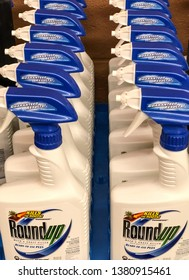 Spokane, WA/USA - March 2019: Rows of Round Up weed and grass killer are displayed at a retail store. Round up contains glyphosate which may be linked to potential cancer concerns