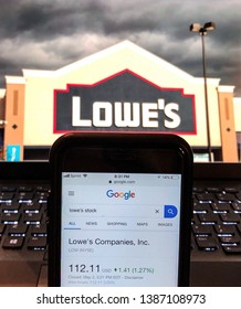 Spokane, WA/USA - May 2, 2019: Google finance page with stock chart and quote for Lowe's. Photo of Lowe's storefront is visible on computer monitor in background.