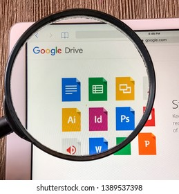 Spokane, WA/USA -May 2019: Magnified view of Google Drive application. Google drive is a file storage & synchronization service created by Google that allows users to synchronize files across devices
