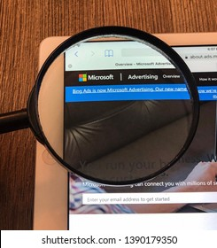 Spokane, WA/USA - May 2019: Magnified view of Microsoft Advertising site. The company recently announced that Bing ads is now Microsoft Advertising. Microsoft advertising is a pay per click service