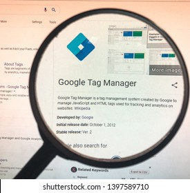 Spokane, WA/USA - May 2019: Magnified view of Google Tag Manager business description page.  GTM is a tag management system to manage JavaScript and HTML tags for tracking analytics