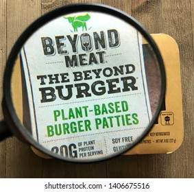 Spokane, WA/USA - May 2019: Magnified view of Beyond Meat plant based burger patties.  Beyond Meat is a producer of plant based meat substitutes and recently became a publicly traded company