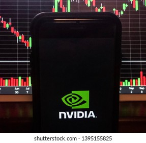 Spokane, WA/USA - May 2019: View of Nvidia App open on a smartphone.  Stock chart is visible in the background. Nvidia is an American technology company that designs graphics processing units (GPU's)