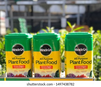 Spokane, WA/USA - September 2019: Miracle gro plant food is on display in the garden section of a retail store