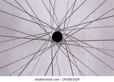 Spokes on a bicycle wheel. Bicycle spokes background