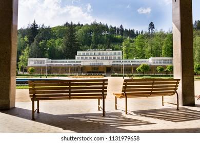 Spolecensky dum - Social House in spa town Luhacovice, Zlin region, Moravia, Czech Republic, sunny summer day