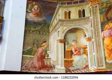 Spoleto, Italy - August 25, 2018: Annunciation by Filippo Lippi in Spoleto cathedral