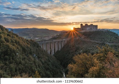 Spoleto (Italy) - The charming medieval village in Umbria region with old castle and the ancient bridge named 'Ponte delle Torri'