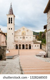 Spoleto, Italy - December 8, 2012: Front view of the Cathedral of Santa Maria Assunta. The Duomo is dedicated to the Assumption of the Blessed Virgin Mary.