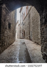 Spoleto small narrow streets, Umbria Italy