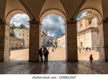 SPOLETO, UMBRIA / ITALY - APRIL 15, 2017: View of Duomo square from the portico of Santa Maria Assunta cathedral