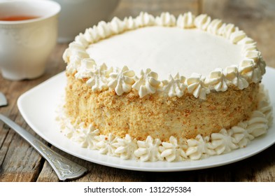 Sponge cake with butter cream. the toning. selective focus