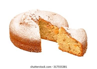 Sponge cake sprinkled with powdered sugar isolated on white background. Funnel cake sprinkled with powdered sugar isolated on white background.