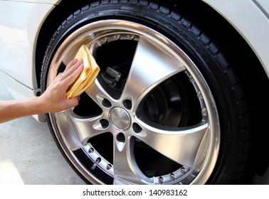 Sponge cleaning car wash