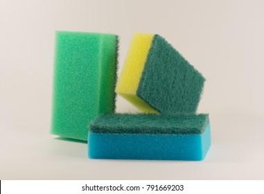 Sponge dish isolated on white background