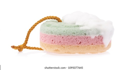 Sponge with foam soap sud isolated on white background
