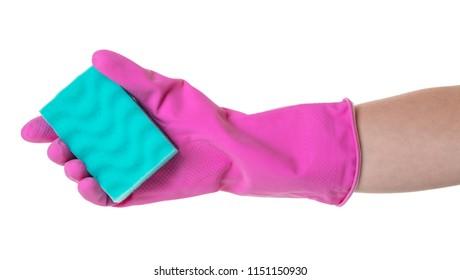 sponge for utensils in a female hand on white isolated background
