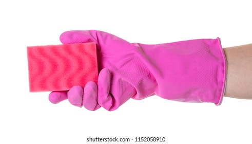 sponge for utensils in a female hand on white isolated background