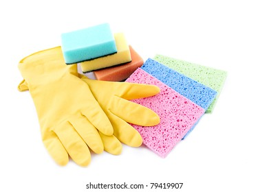 Sponges and gloves for cleaning over white