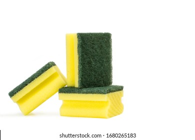 Sponges with scouring pads on a white background