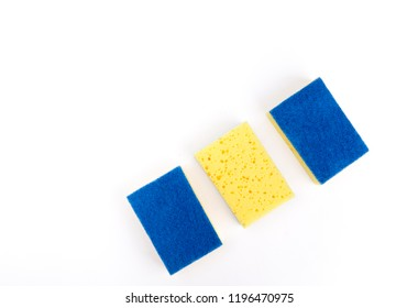 sponges for ware on a white background
