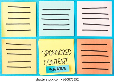 Sponsored content with copy space. Digital marketing concept
