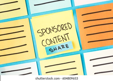 Sponsored content, promoted, paid, native and advertising concept. Digital marketing concept.