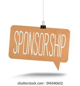 sponsorship word on cardboard