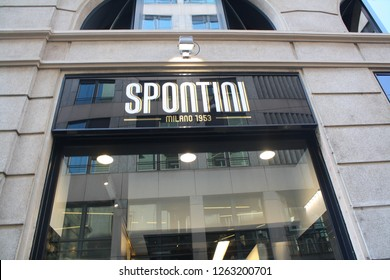 Spontini sign over the so called pizza restaurant - 03.19.2018 - Milan, Italy.