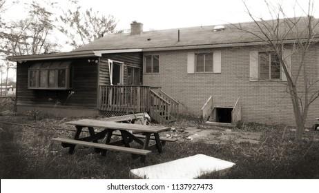 Spooky abandoned house. Sepia tone.