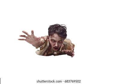 Spooky asian undead man crawling isolated over white background