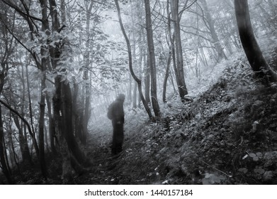 A spooky blurred, silhouetted figure, standing on a path in the middle of a sinister, misty forest. With a grunge, grainy, vintage edit.