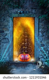 Spooky carved halloween pumpkin in front of purgatory' s door on a foggy halloween night